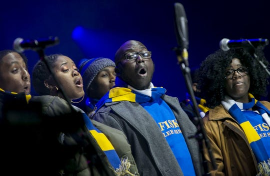 The Fisk Jubilee Singers perform during the Jack Daniel's Music City Midnight: New Year's Eve held at Bicentennial Capitol Mall State Park in Nashville Dec. 31, 2017.