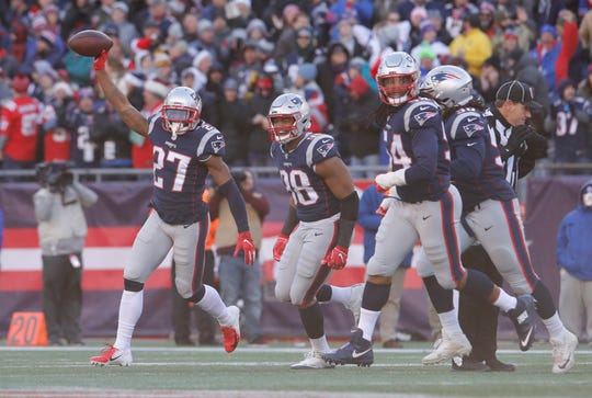 New England Patriots defensive back J.C. Jackson (27) of Immokalee reacts after intercepting a pass against the Buffalo Bills in the second quarter at Gillette Stadium on Dec. 23. Jackson made the team as an undrafted free agent.