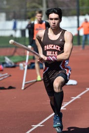 Oradell  4/21/2018      Liam Landau of Pascack Hills competes in the C pole vault at the 57th annual Jack Yockers Bergen County Relays at River Dell High School.