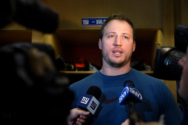 New York Giants tackle Nate Solder #76, talks to the media while cleaning out his locker at Quest Diagnostics Training Center on Monday, December 31, 2018 after the Giants finished the season with a record of 5-11.