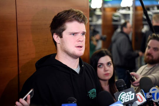 New York Jets quarterback Sam Darnold talks to the media as the players clean their lockers on Monday, Dec. 31, 2018, in Florham Park.