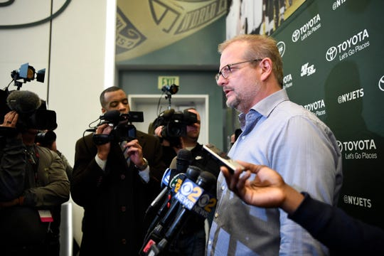 New York Jets general manager Mike Maccagnan speaks to reporters after the firing of head coach Todd Bowles (not pictured) on Monday, Dec. 31, 2018, in Florham Park.