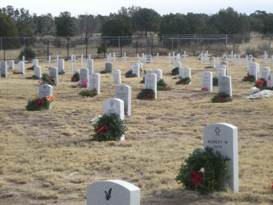 The graves at Fort Stanton were decorated as part of the Wreaths Across America effort.
