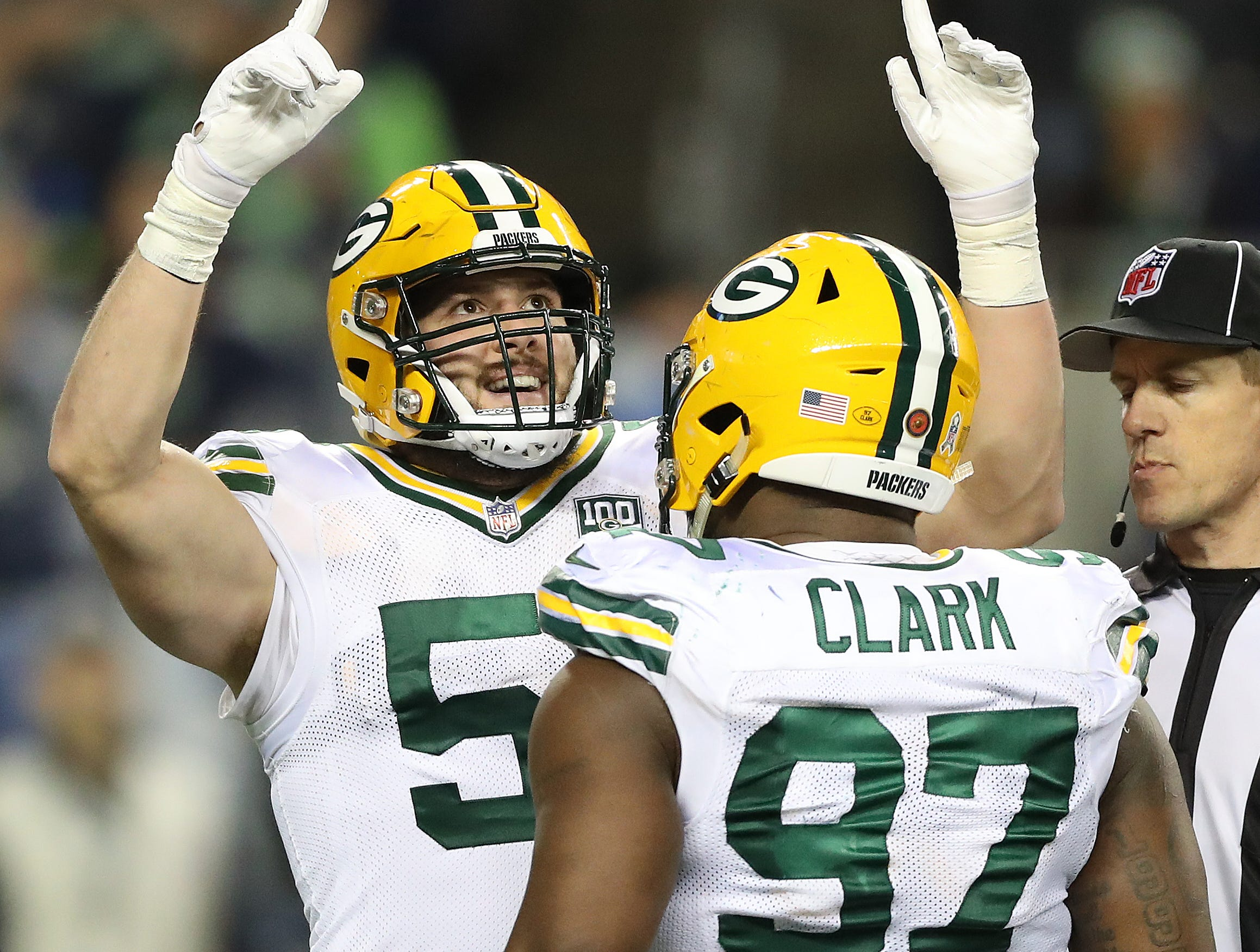 Green Bay Packers linebacker Kyler Fackrell (51) celebrates a sack with nose tackle Kenny Clark (97) against the Seattle Seahawks at CenturyLink Field Thursday, November 15, 2018 in Seattle, WA. Jim Matthews/USA TODAY NETWORK-Wis