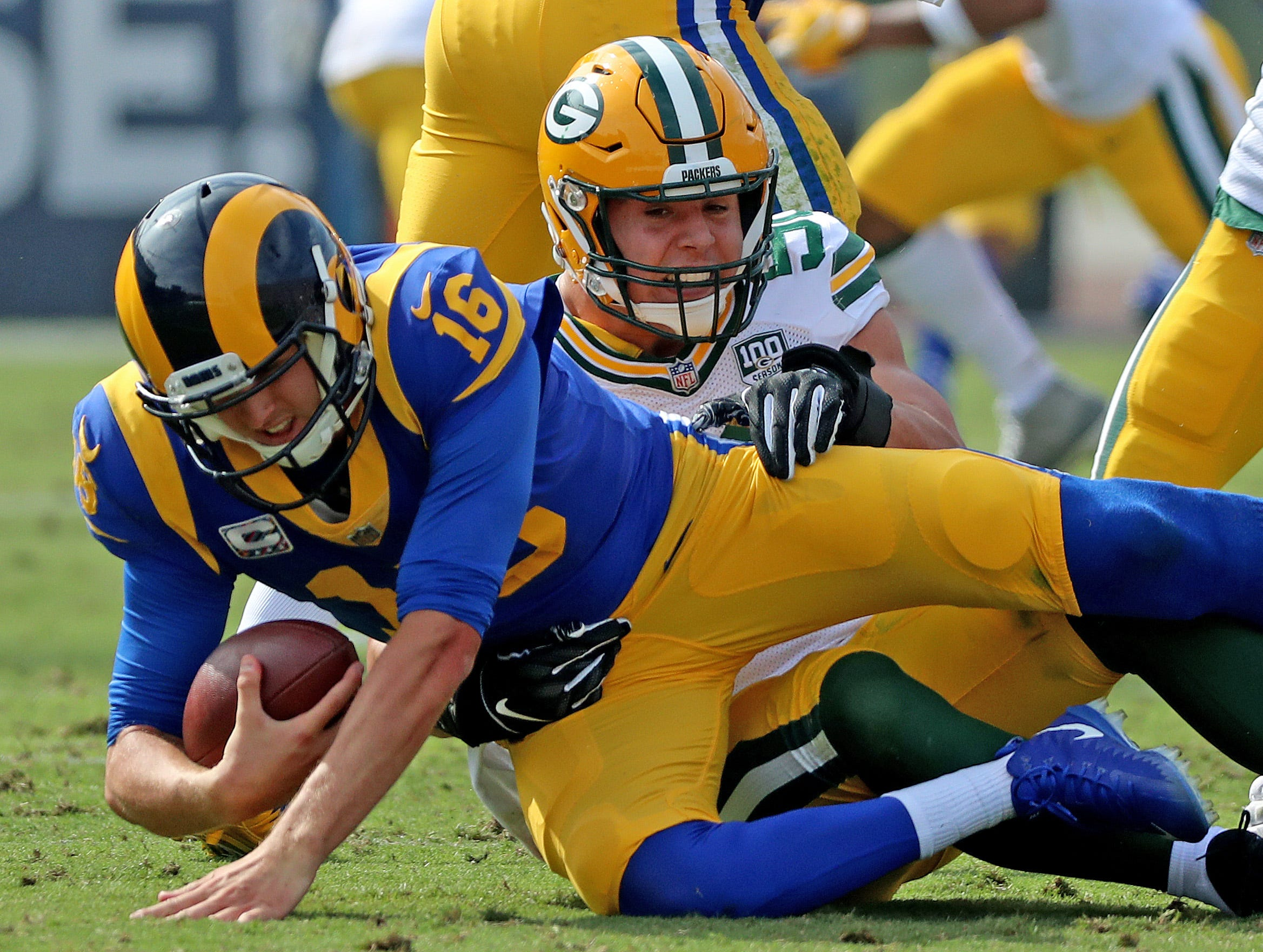 Green Bay Packers linebacker Blake Martinez (50) sacks quarterback Jared Goff (16) against the LA Rams Sunday, October 28, 2018 at the Memorial Coliseum in Los Angeles, Cal. Jim Matthews/USA TODAY NETWORK-Wis
