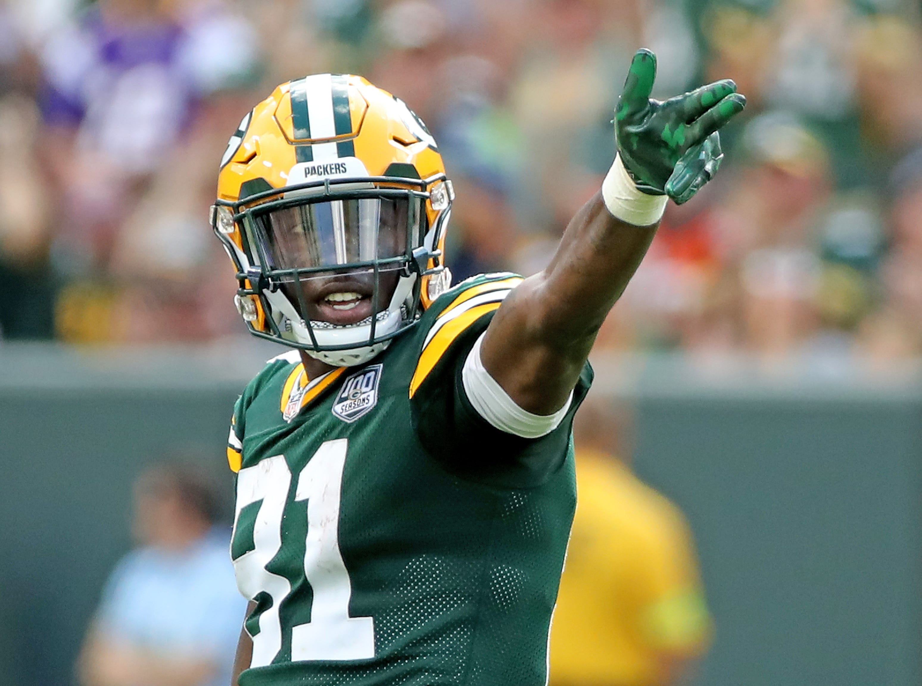 Green Bay Packers wide receiver Geronimo Allison (81) signals first down after a catch against the Minnesota Vikings Sunday, September 16, 2018 at Lambeau Field in Green Bay, WIs.