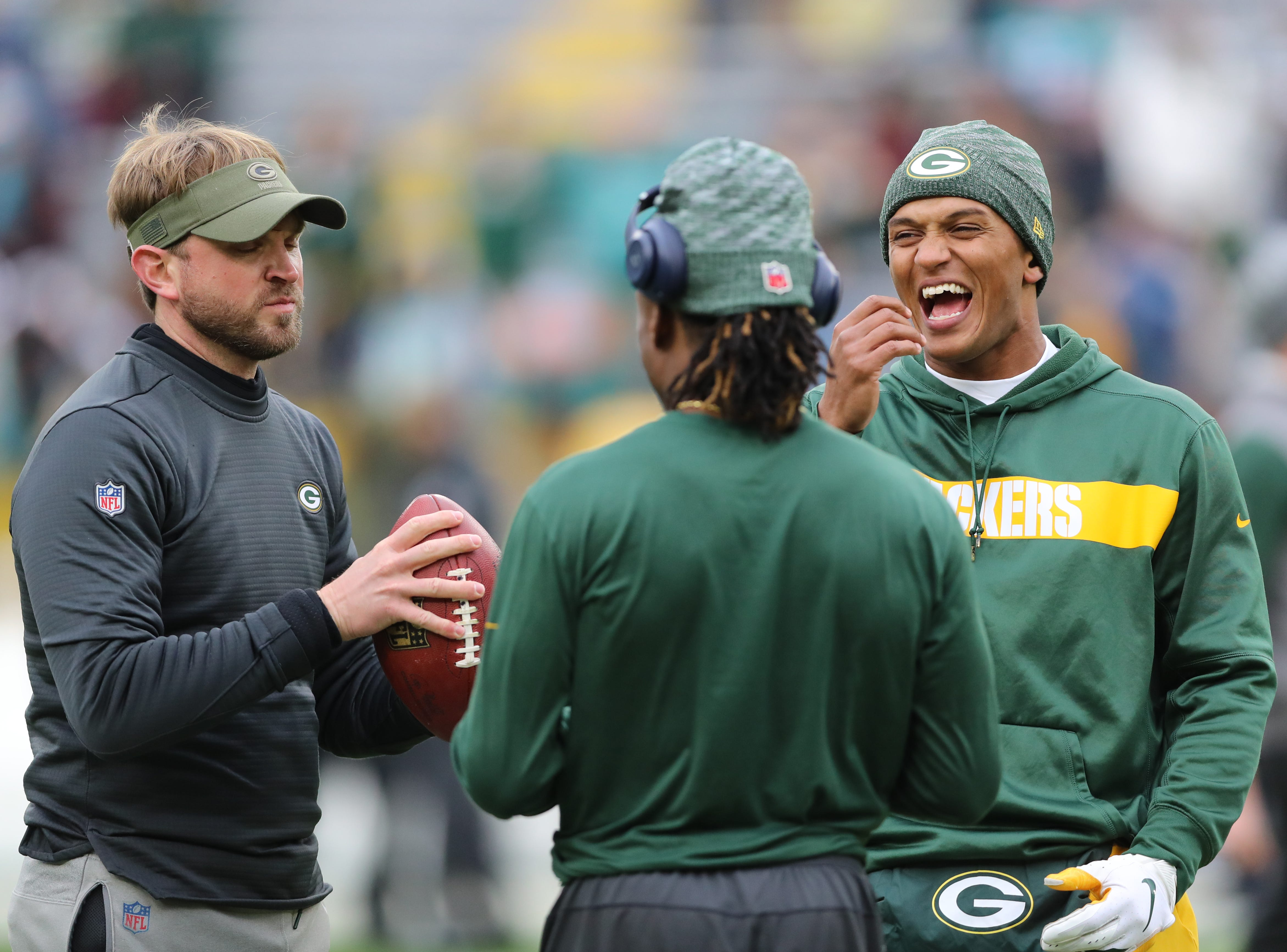 Packers coach David Riah with wide receiver Davante Adams (17) and quarterback DeShone Kizer (9) before the game against the Miami Dolphins at Lambeau Field Sunday, November 11, 2018 in Green Bay, Wis. Jim Matthews/USA TODAY NETWORK-Wis