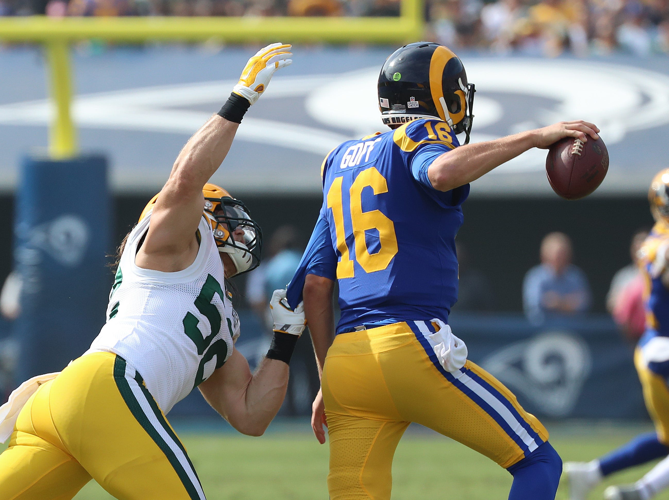 Green Bay Packers linebacker Clay Matthews (52) closes in on quarterback Jared Goff (16) against the LA Rams Sunday, October 28, 2018 at the Memorial Coliseum in Los Angeles, Cal. Jim Matthews/USA TODAY NETWORK-Wis