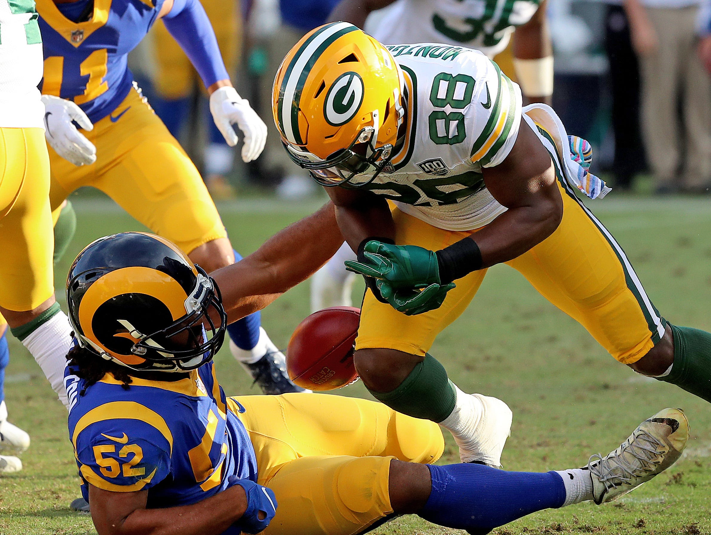 Green Bay Packers running back Ty Montgomery (88) fumbles the ball on a kickoff return late in the game linebacker Ramik Wilson (52) against the LA Rams Sunday, October 28, 2018 at the Memorial Coliseum in Los Angeles, Cal. Jim Matthews/USA TODAY NETWORK-Wis