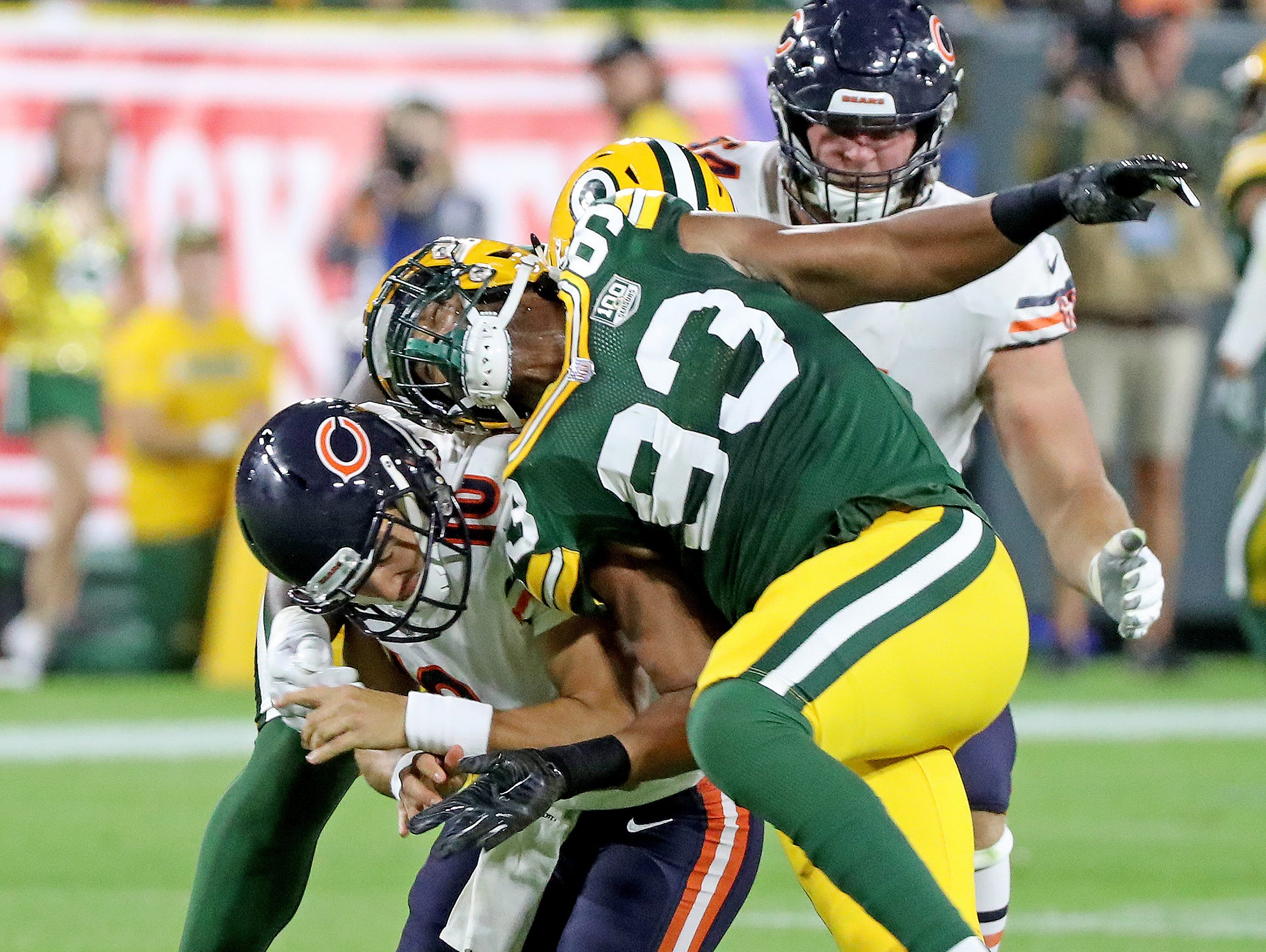 Green Bay Packers linebacker Reggie Gilbert (93) hits quarterback Mitchell Trubisky (10) against the Chicago Bears Sunday, September 9, 2018 at Lambeau Field in Green Bay, Wis. Jim Matthews/USA TODAY NETWORK-Wisconsin