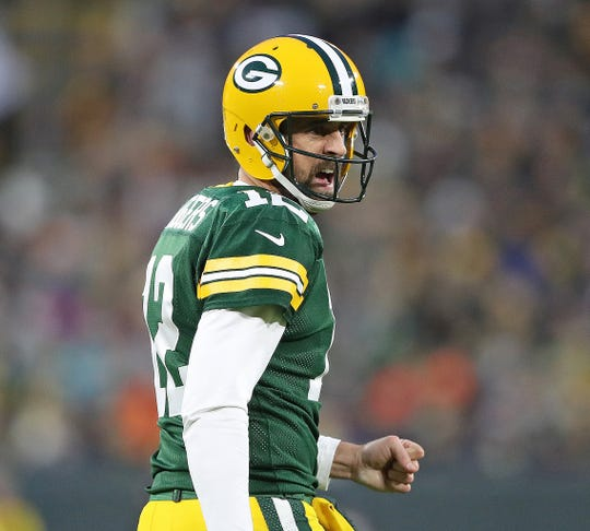 Green Bay Packers quarterback Aaron Rodgers (12) barks at the referee against the Miami Dolphins at Lambeau Field Sunday, November 11, 2018 in Green Bay, Wis. Jim Matthews/USA TODAY NETWORK-Wis