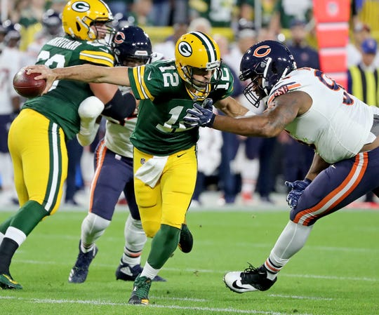 Will Aaron Rodgers pull off another home win against defensive end Akiem Hicks and the Chicago Bears in 2019?