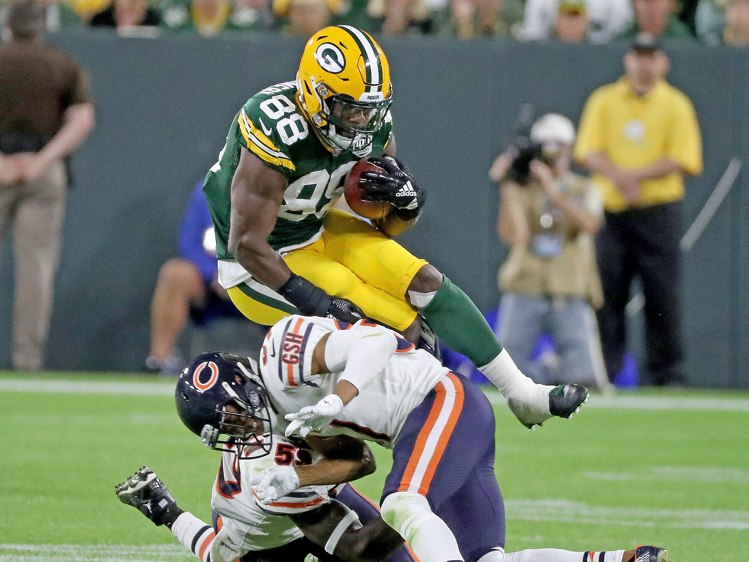 Green Bay Packers running back Ty Montgomery (88) leaps tacklers against the Chicago Bears Sunday, September 9, 2018 at Lambeau Field in Green Bay, Wis. Jim Matthews/USA TODAY NETWORK-Wisconsin
