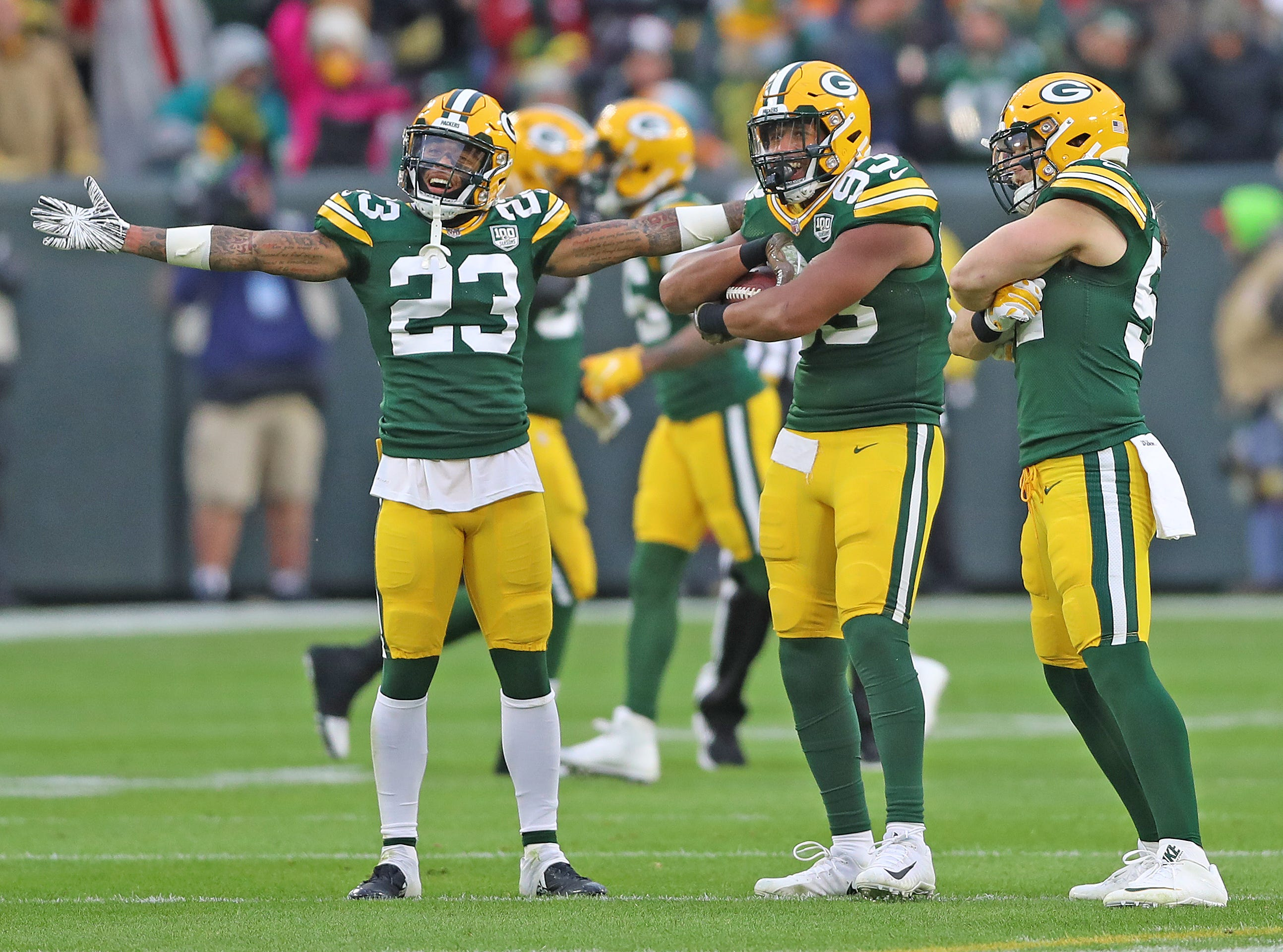 Green Bay Packers linebacker Reggie Gilbert (93) celebrates a fumble recovery with outside linebacker Clay Matthews (52) and cornerback Jaire Alexander (23) against the Miami Dolphins at Lambeau Field Sunday, November 11, 2018 in Green Bay, Wis. Jim Matthews/USA TODAY NETWORK-Wis