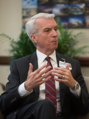 Henry Stovall, the new president and CEO of Sacred Heart Health System, talks Monday about the health care system's future growth during an interview.