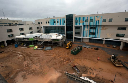 Construction continues Monday on the new Studer Family Children's Hospital at Sacred Heart.