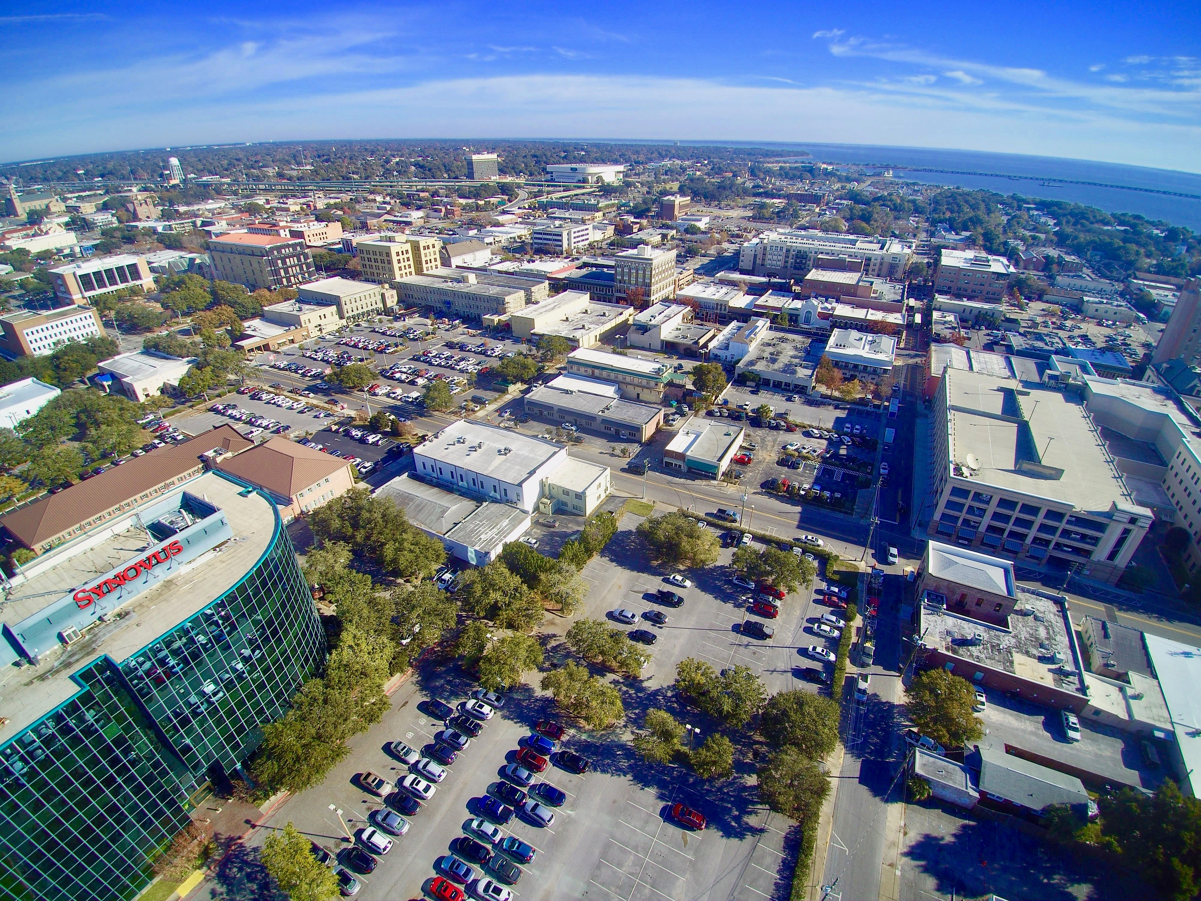 Aerial shots of downtown Pensacola.