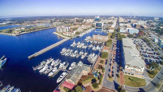 Aerial photos of downtown Pensacola.