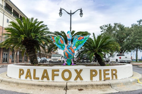 The Pensacola Pier Pelican sits in the median just in front of 850 S. Palafox St.