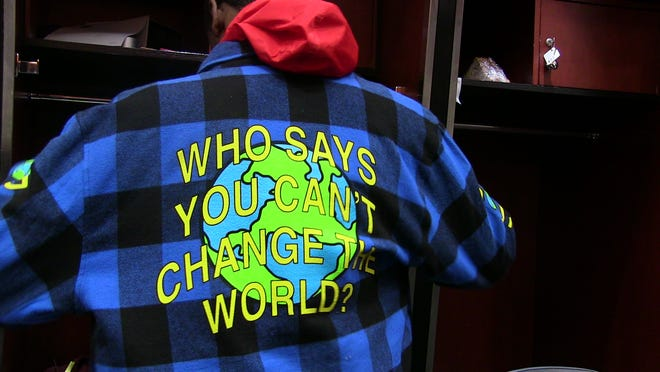 "Josh Jackson's jacket provided an inspirational message for the Suns to ponder: ""Who says you can't change the world?"""