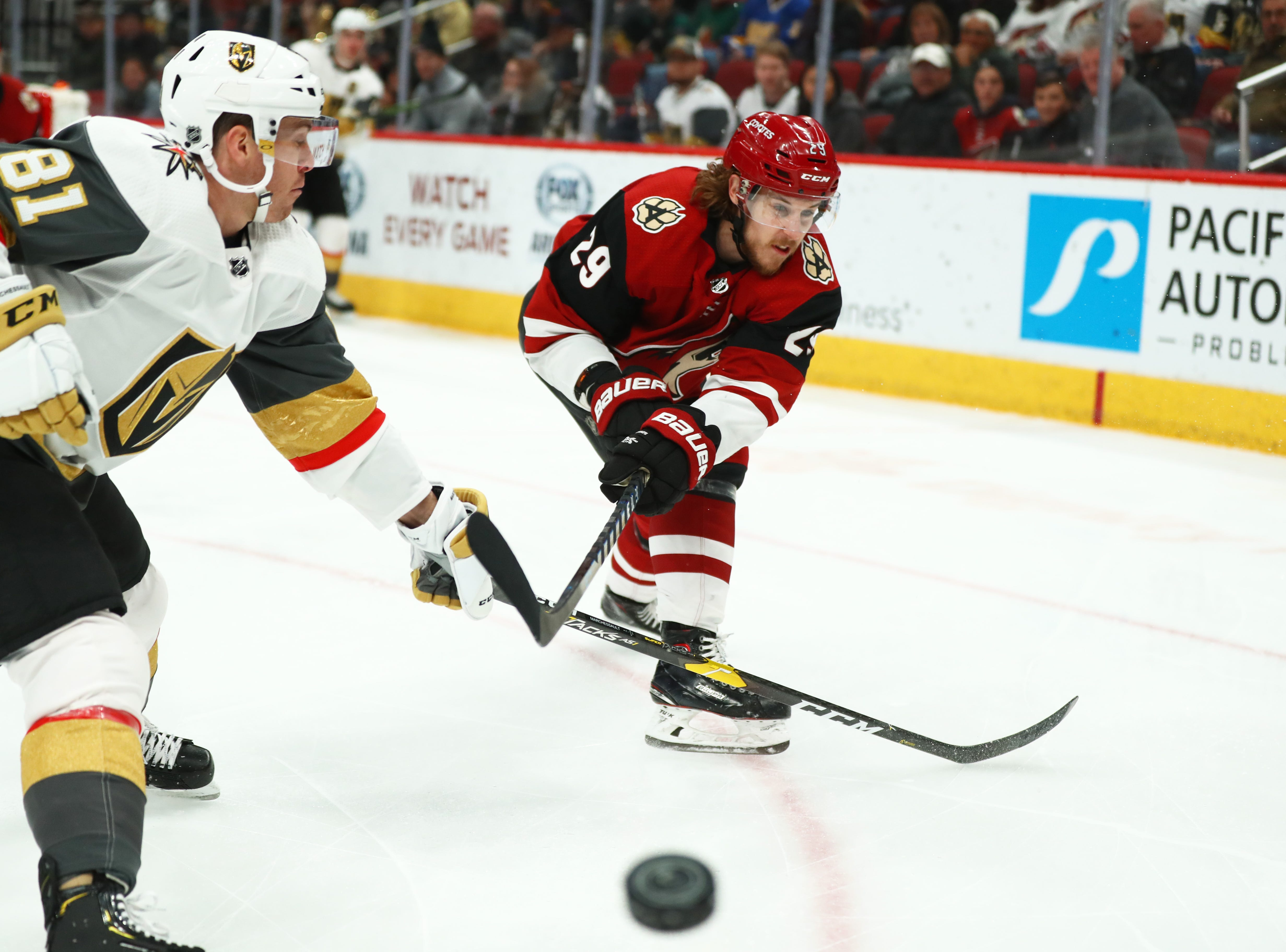 Dec 30, 2018; Glendale, AZ, USA; Arizona Coyotes right wing Mario Kempe (29) moves the puck against Vegas Golden Knights center Jonathan Marchessault (81) in the first period at Gila River Arena. Mandatory Credit: Mark J. Rebilas-USA TODAY Sports