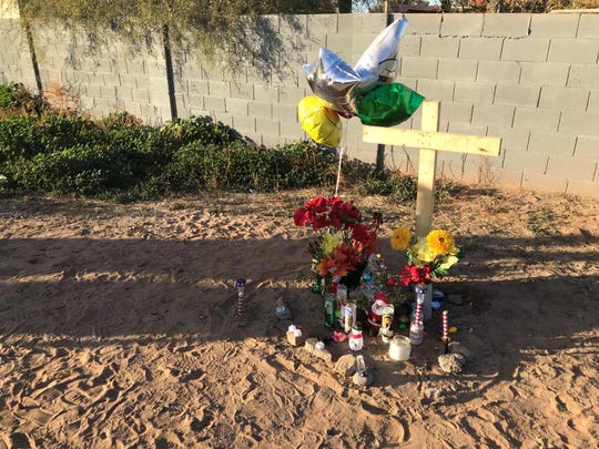A memorial set up for Manuel Villaverde, who was killed on Dec. 22.