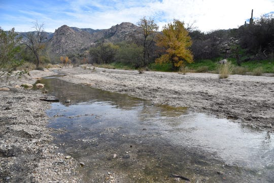 Stepping stones and sandbars assist crossings of Sutherland Wash.