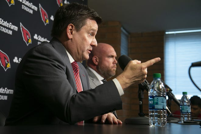 Cardinals President Michael Bidwill and General Manager Steve Keim speak at a news conference announcing the termination of Steve Wilks as head coach.