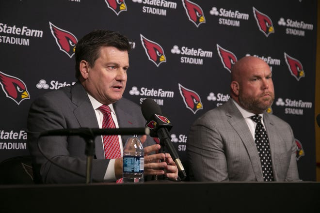 Michael Bidwill and Steve Keim speak at a news conference Monday following the announcement of the firing of coach Steve Wilks after just one season.