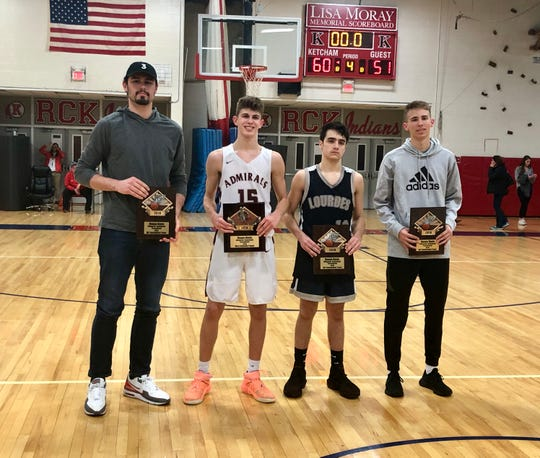 The Duane Davis all-tournament awards are accepted by the players present on Sunday. From left: Cameron Ness (Highland), Jake Weinstein (Arlington), Tanner Broughton (Our Lady of Lourdes) and Jake Daly (Millbrook)