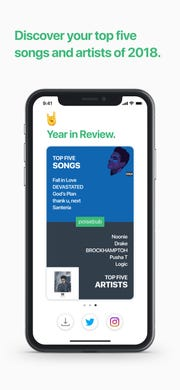 The NoiseHub app will list your top 5 songs and artists from 2018.