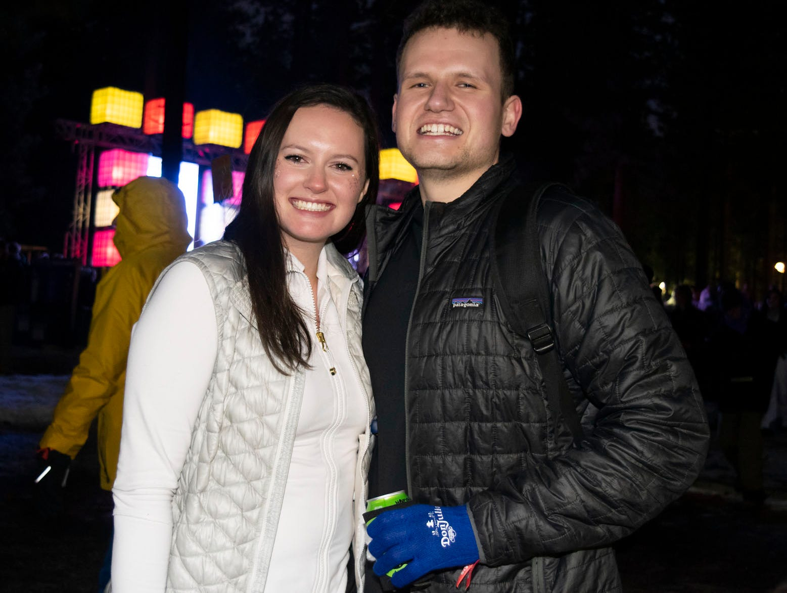 Jessica Crawford and Robert Brown attend the Snowglobe Music Festival on Saturday, Dec. 29, 2018. South Lake Tahoe, Calif.