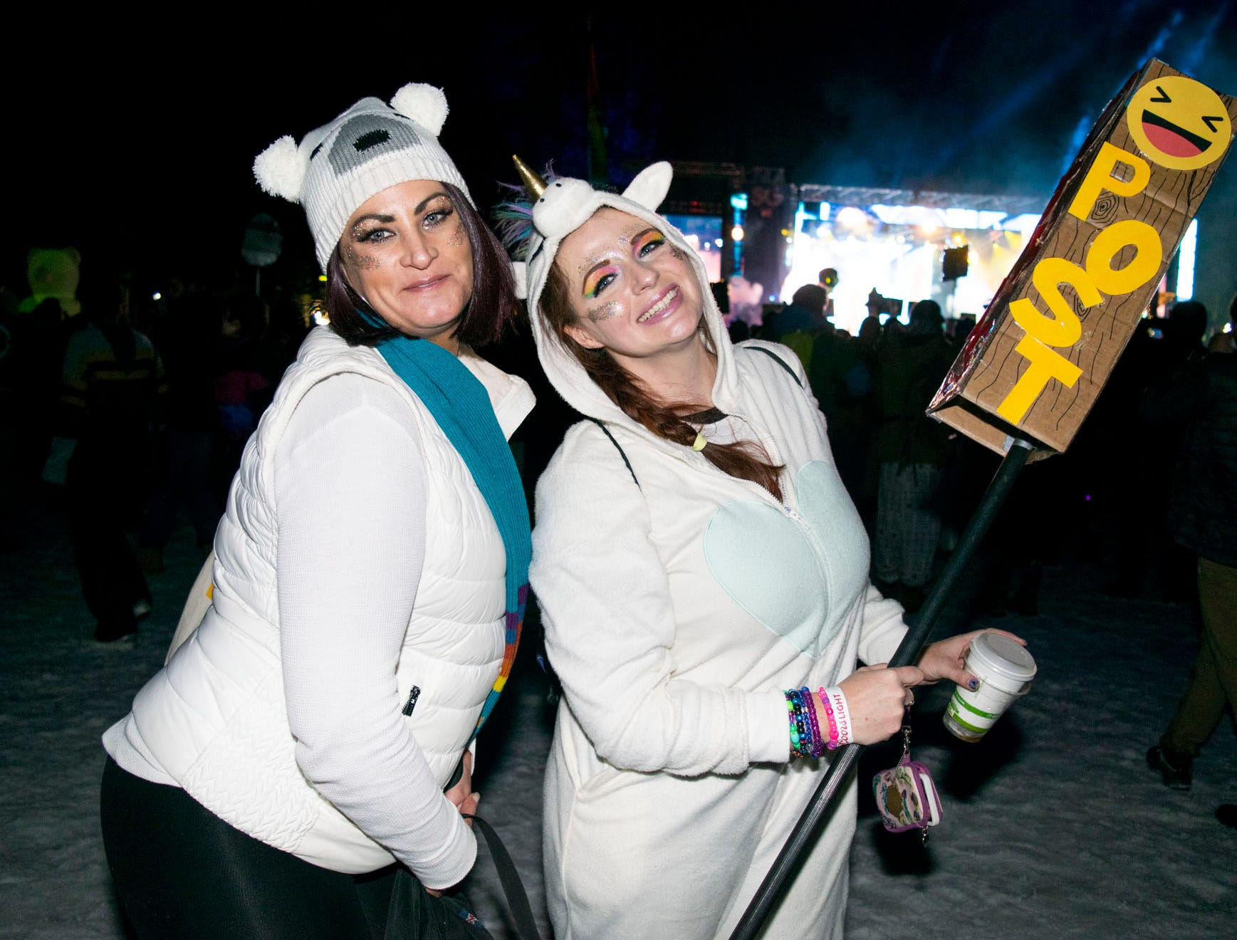 Rachel Carmichael and Tara Mills attend the Snowglobe Music Festival on Saturday, Dec. 29, 2018. South Lake Tahoe, Calif.