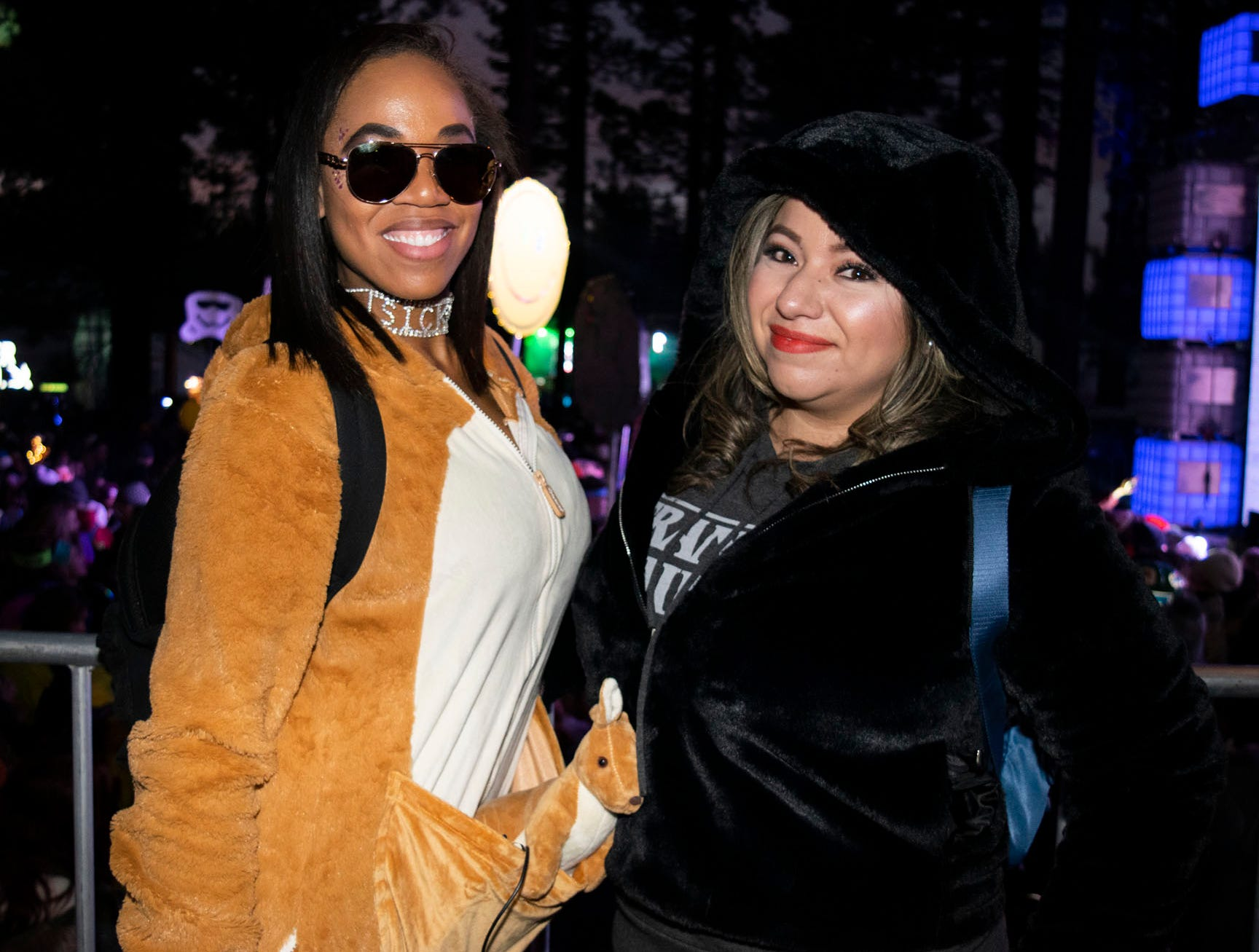 Shawna Wimberly and Jessica Rios attend the Snowglobe Music Festival on Saturday, Dec. 29, 2018. South Lake Tahoe, Calif.