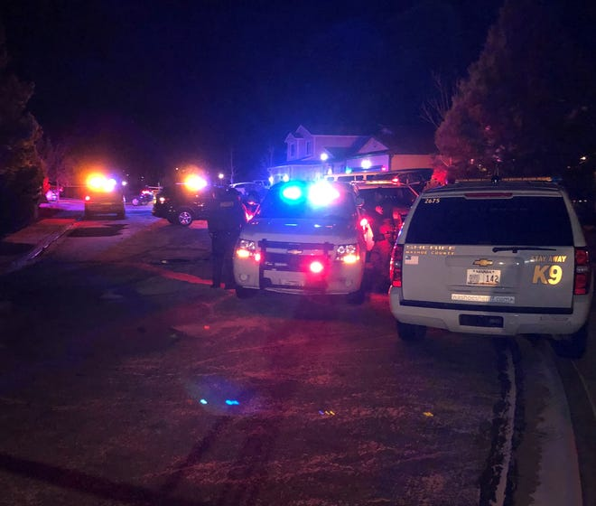 Washoe County Sheriff's Office vehicles in front of a residence in Cold Springs on Dec. 30, 2018 where two people were found dead after reports of shots fired.