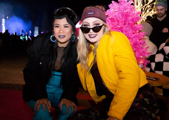 ThaoTien Nguyen and Abby Anderson attend the Snowglobe Music Festival on Saturday, Dec. 29, 2018. South Lake Tahoe, Calif.
