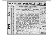 Report of the death of Lucy Ellen Guernsey from the Rochester Democrat and Chronicle, Nov. 4, 1899.