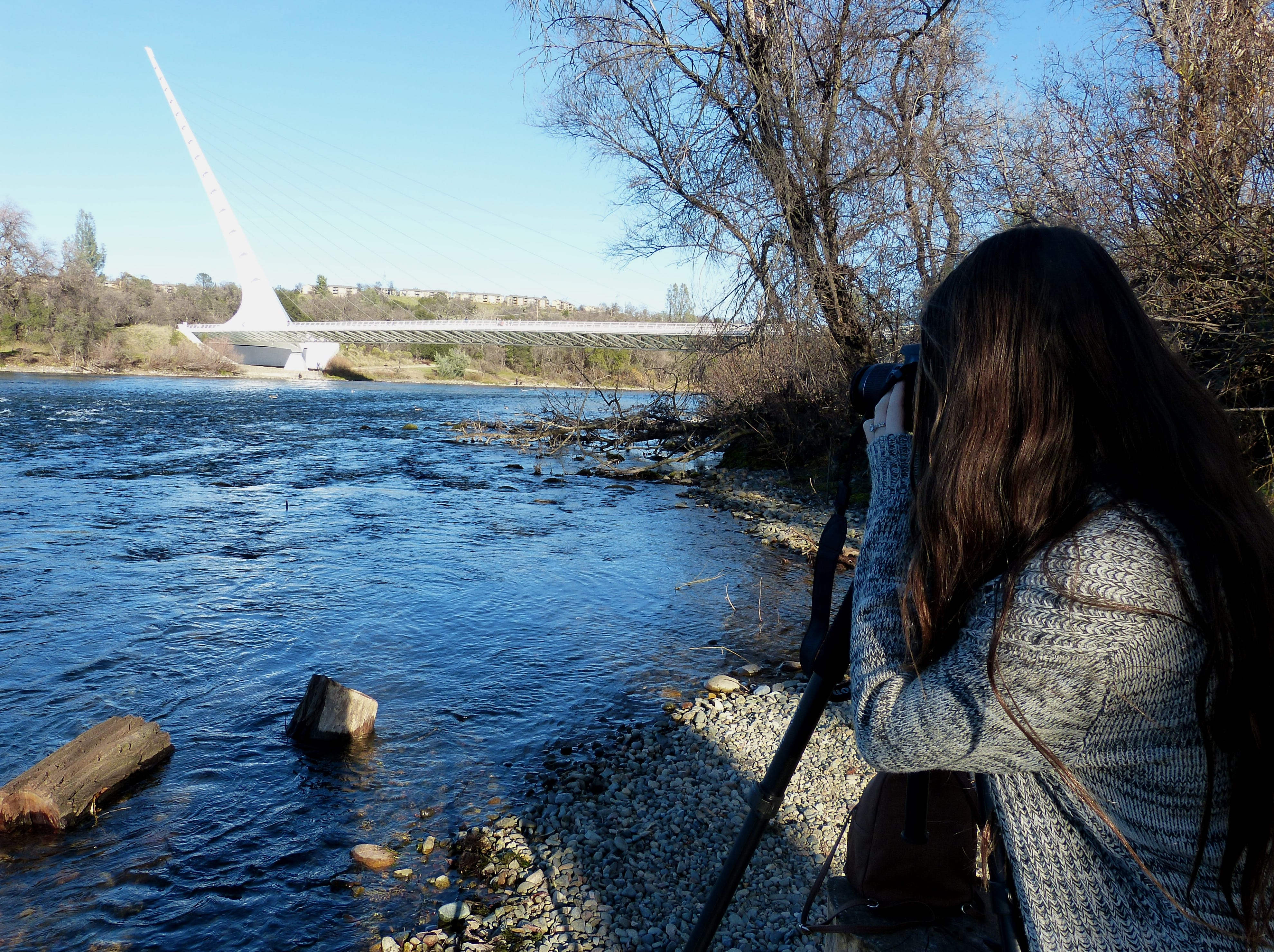 Izetta Champney, 11, of Redding spent a portion of Monday trying out a new camera she got for Christmas.
