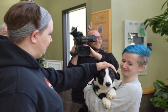 The 3-month-old border collie named Caroline was the 12,000th animal to find a home in 2018, breaking the record for pets adopted from OHS in one year.