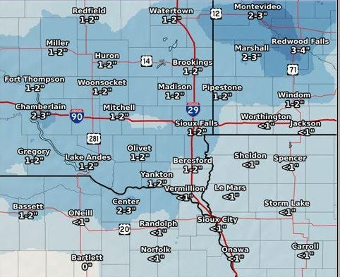 Only a few inches of snow is predicted on Dec. 31, 2018 for southeast south Dakota. But low wind chills could make New Year's Eve especially cold this year.