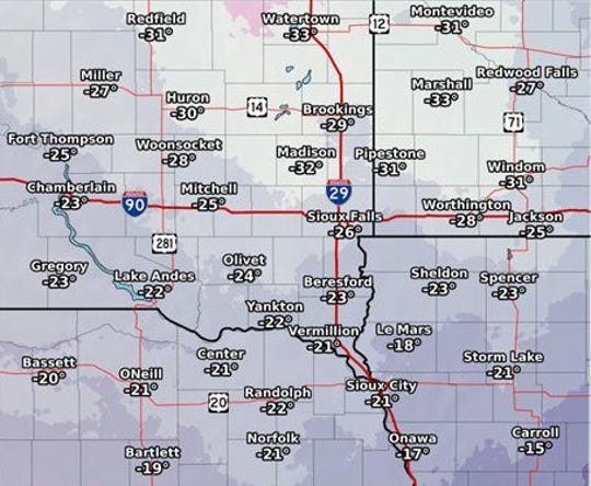 Wind chill values for New Year's Eve into New Year's Day 2018.