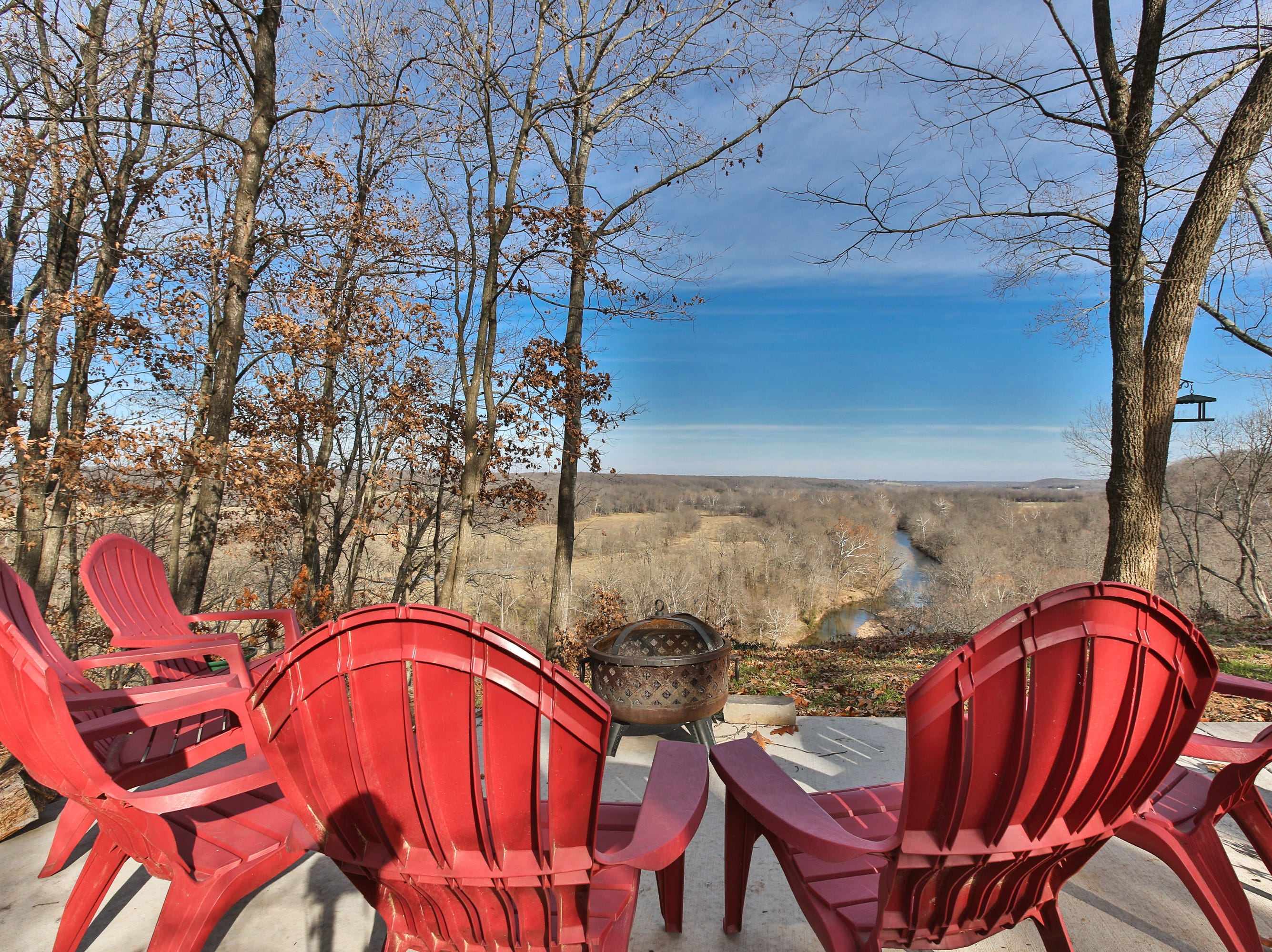 The property offers many angles from which to enjoy a view of the James River.