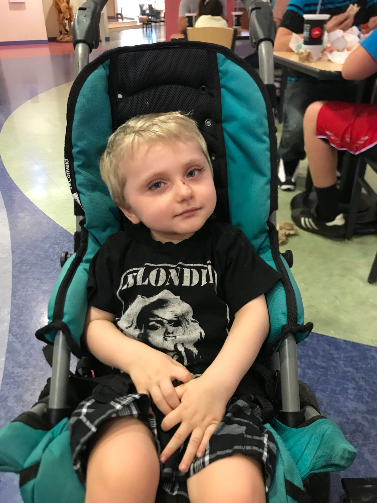 Carson Tugman, 3, of Staunton, at Vanderbilt University in Nashville, Tennessee, for a research study on rare genetic disorders. Tugman suffers from a rare genetic disorder caused by a pathogenic variant of the MECP2 gene known as Rett Syndrome.