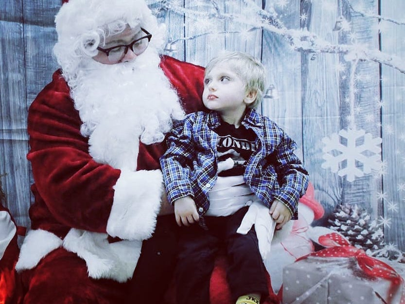 Carson Tugman, 3, of Staunton, at a Sensory Santa event in Staunton. Tugman suffers from a progressive neurodevelopmental disorder caused by a pathogenic variant of the MECP2 gene known as Rett Syndrome.