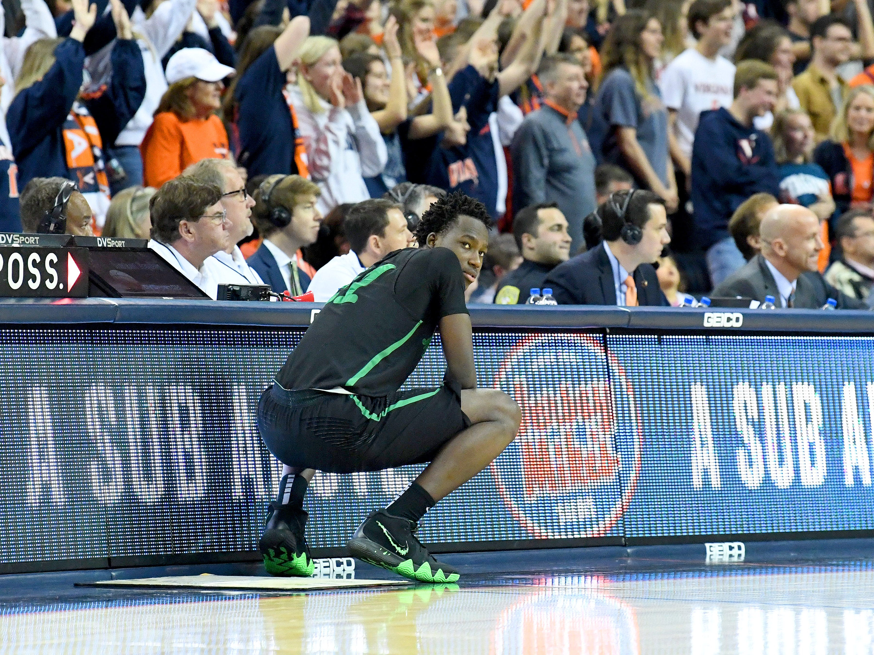 Marshall's Darius George, former R.E. Lee star, waits to go into the game during their game against University of Virginia, played at the John Paul Jones Arena on Dec. 31, 2016.
