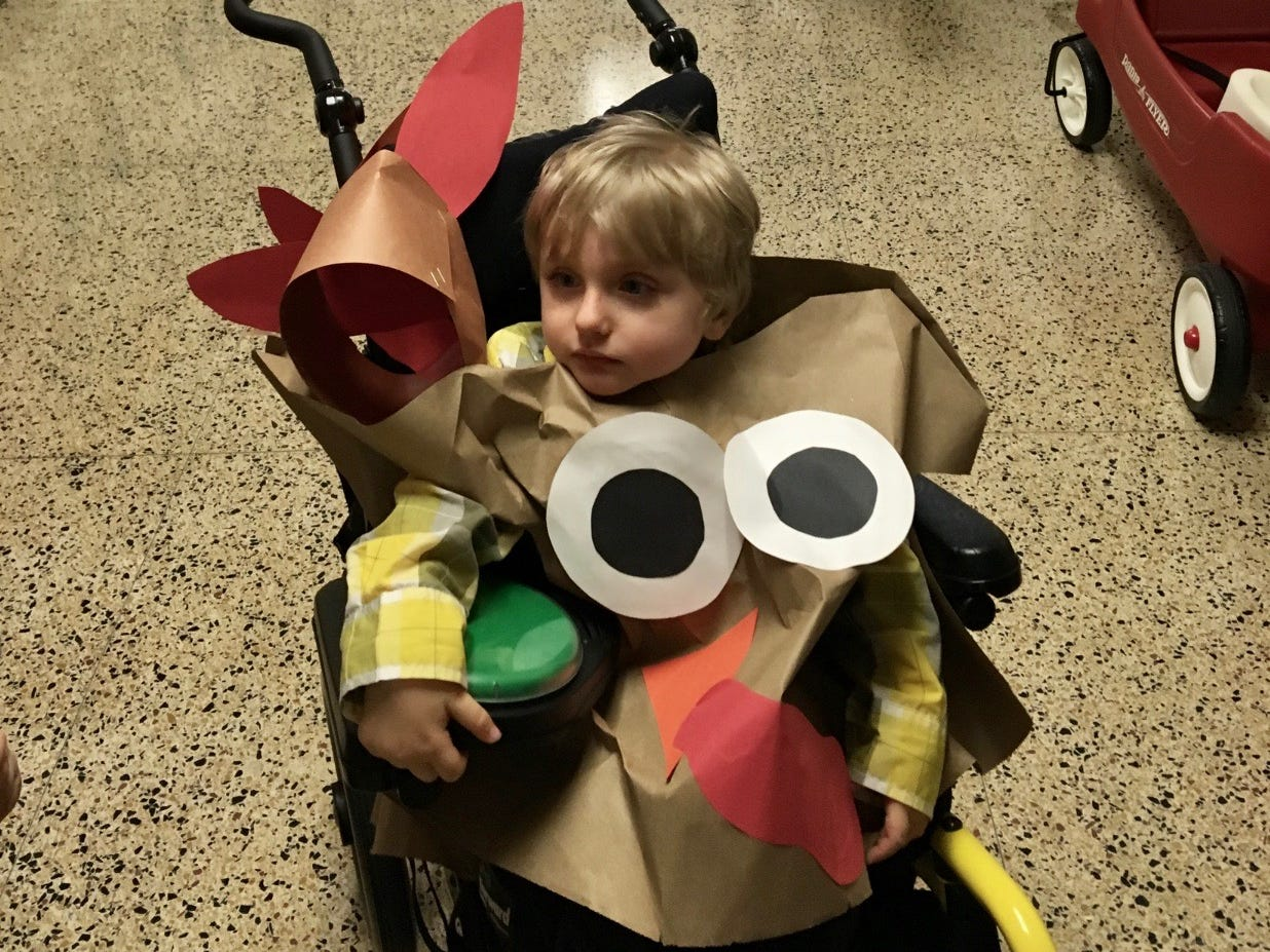 Carson Tugman, 3, of Staunton, in his Thanksgiving costume at Dixon Educational Center. Tugman suffers from a progressive neurodevelopmental disorder caused by a pathogenic variant of the MECP2 gene known as Rett Syndrome.