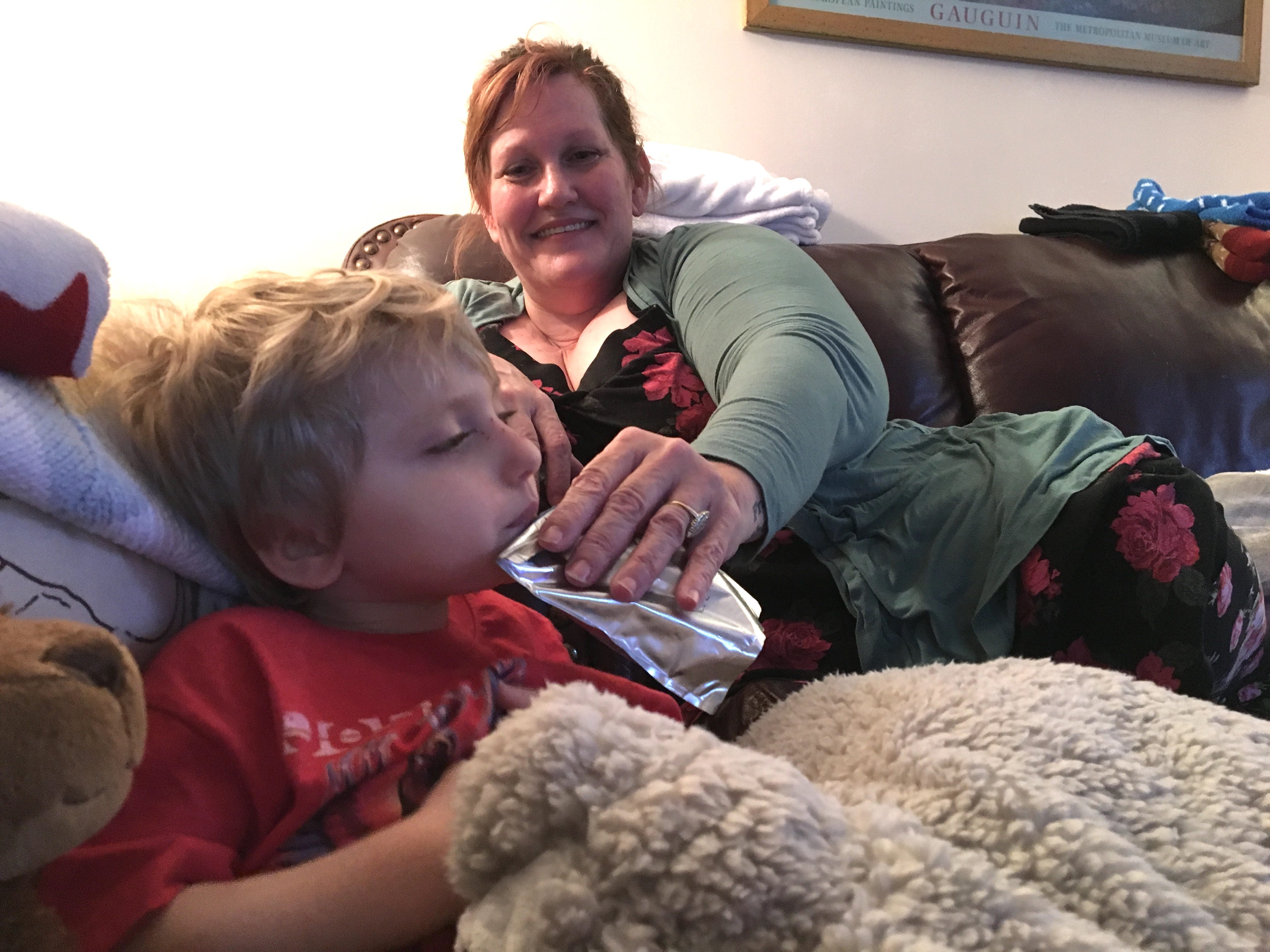 Carson Tugman, 3, and legal guardian and grandmother Kelly Howe at their home in Staunton on Monday, Dec. 31, 2018. Tugman suffers from a progressive neurodevelopmental disorder caused by a pathogenic variant of the MECP2 gene, known as Rett Syndrome.