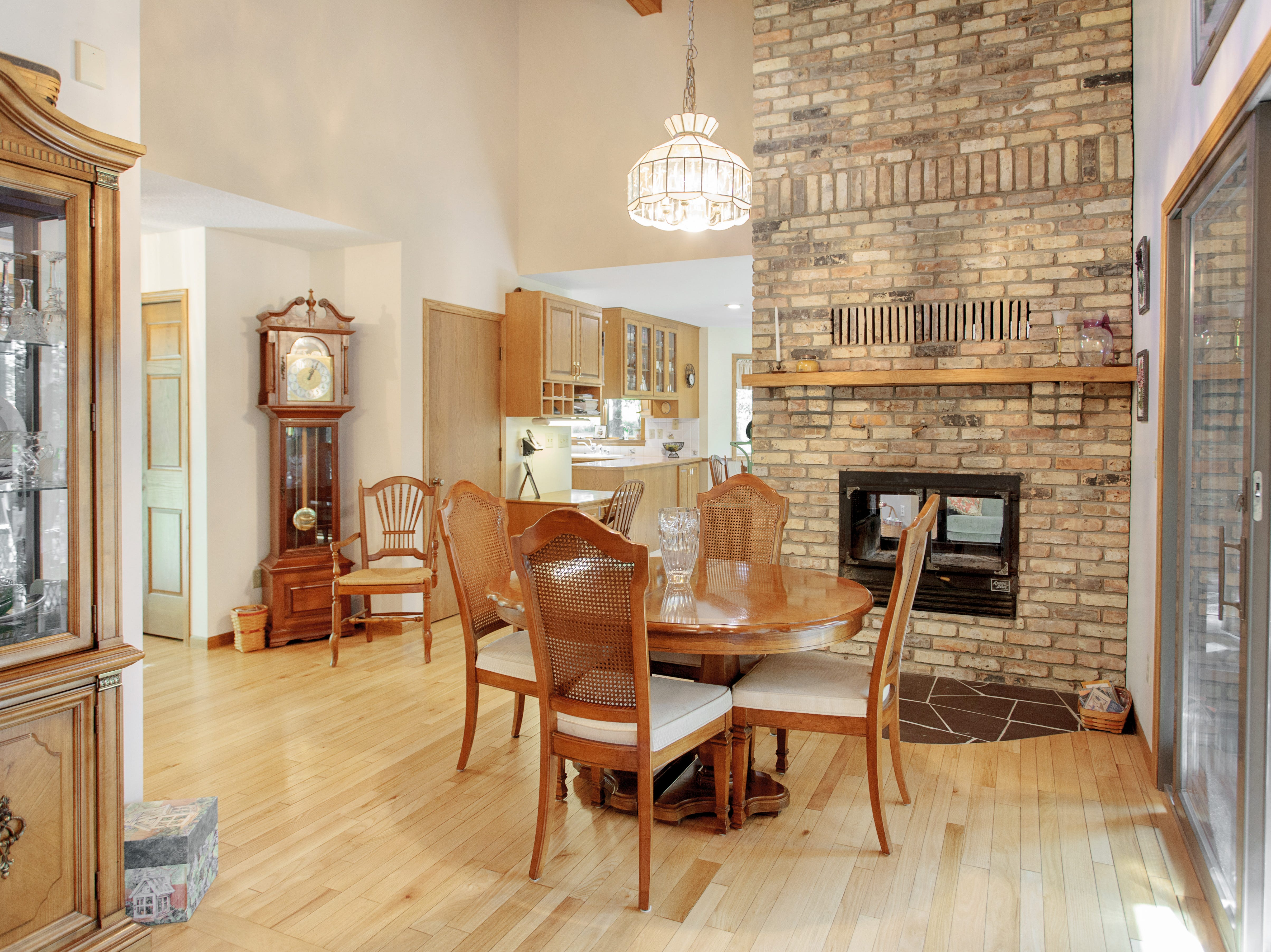 The hearth room provides its own access to the outdoors and sits adjacent to the kitchen.