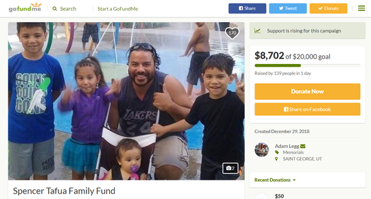 Spencer Tafua, who was killed in a bar shooting at the One and Only in St. George Saturday, is pictured with his children in this screenshot from his family's GoFundMe campaign.
