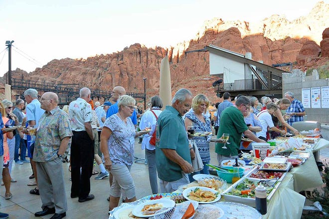 St. George Wine Club members eat and drink at Tuacahn Center for the Arts at one of the club's 2018 socials.